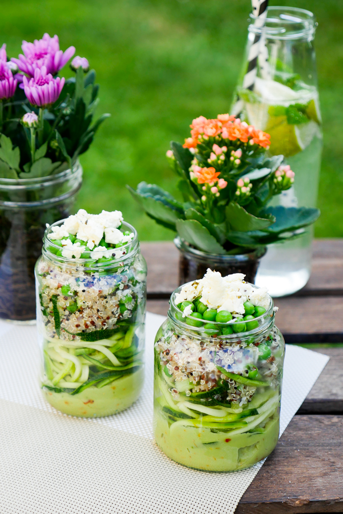 Zucchini noodle salad with quinoa and avocado dressing