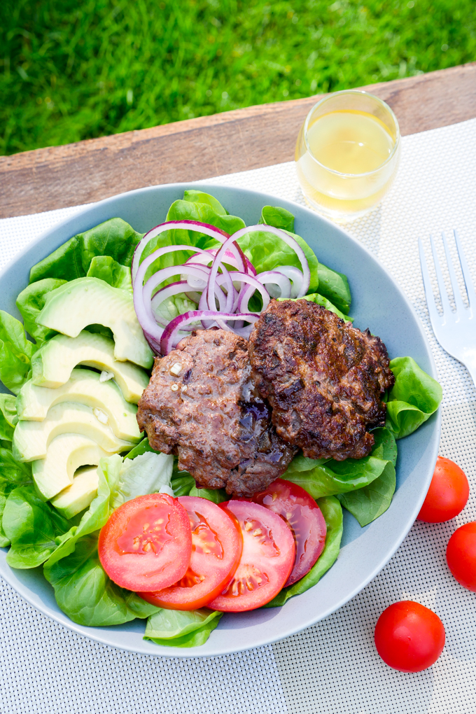 Healthy Low Carb Burger Bowl with Avocado and Tomatoes