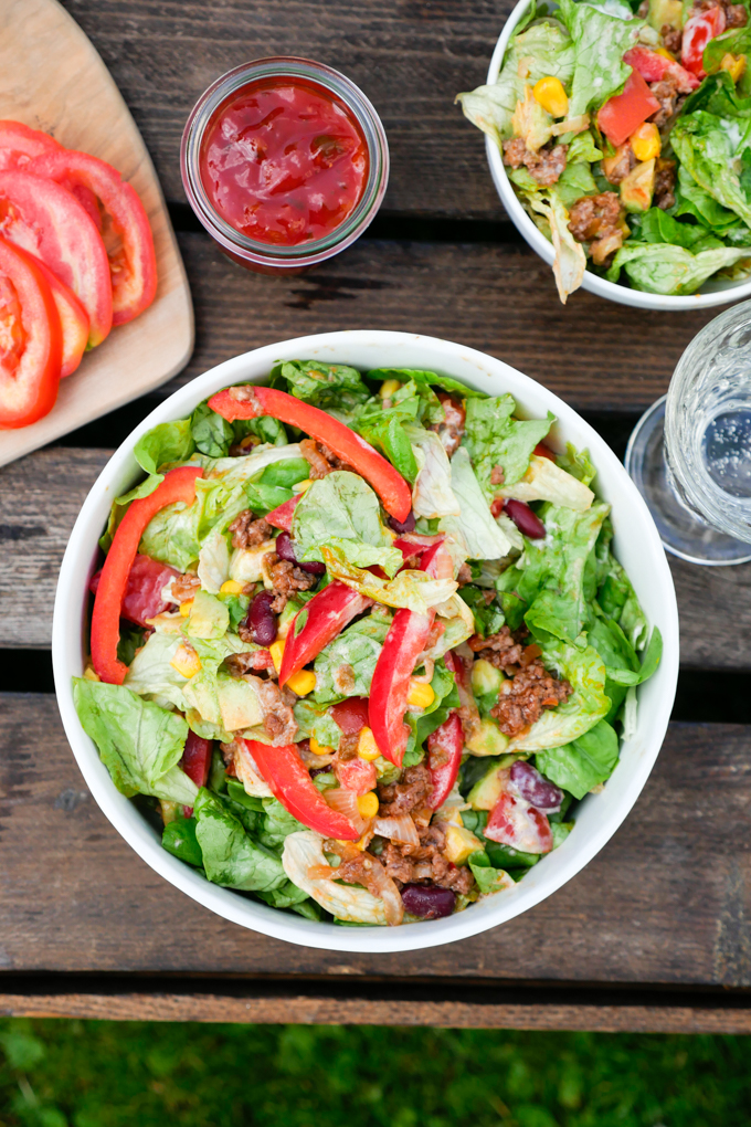 Mexican salad with minced meat and salsa