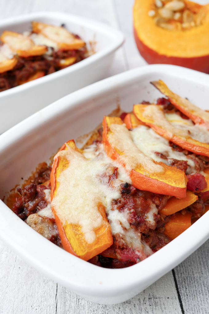 Fast Low Carb Pumpkin Casserole with Minced Meat and Mozzarella