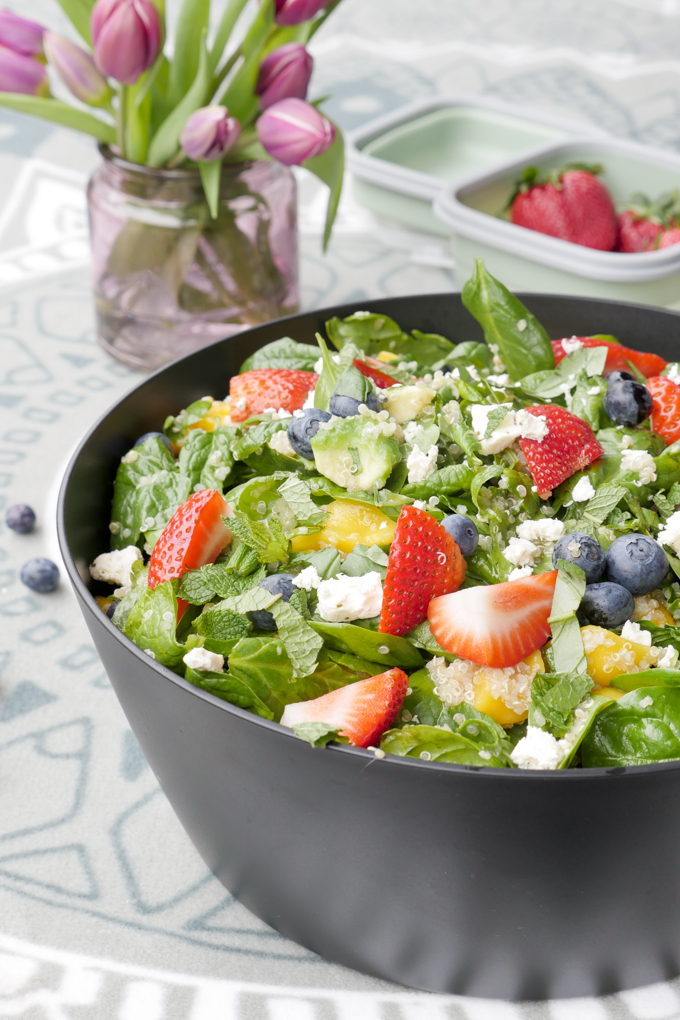 Spring salad with fruit, quinoa and feta