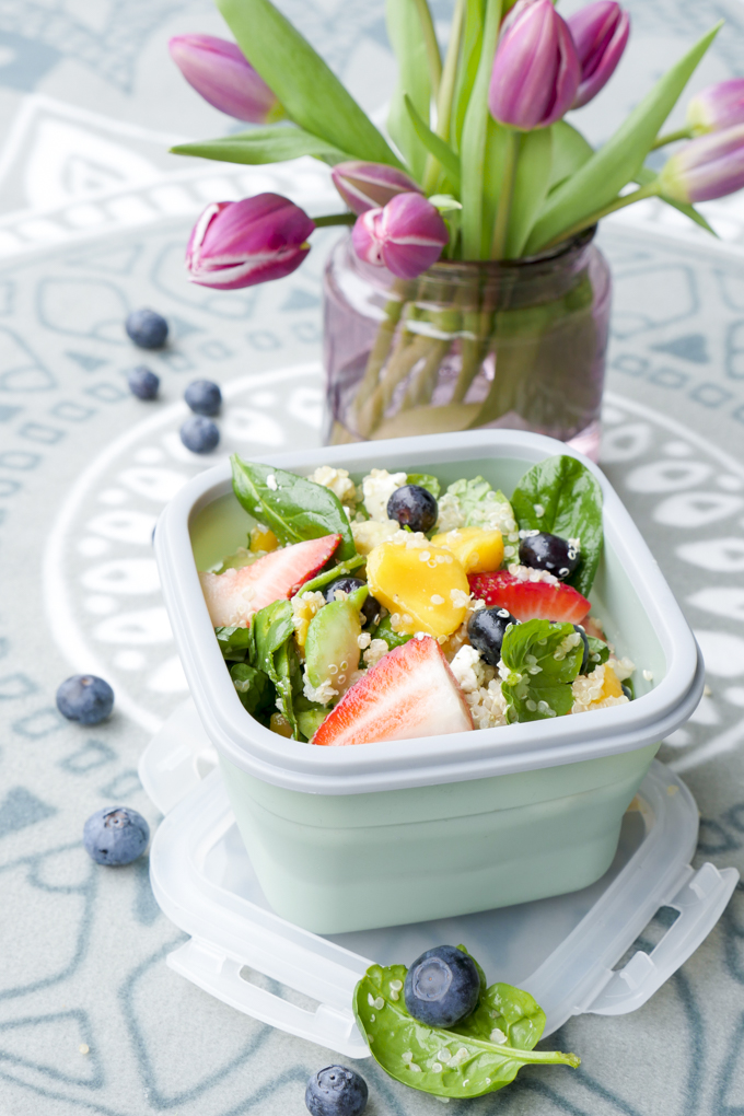 Salad with fruits, quinoa and feta cheese - a tasty salad for kids