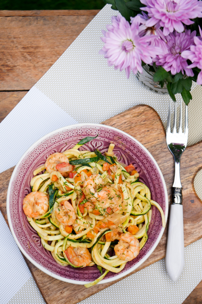 Recipe for zoodles with shrimp in cream sauce