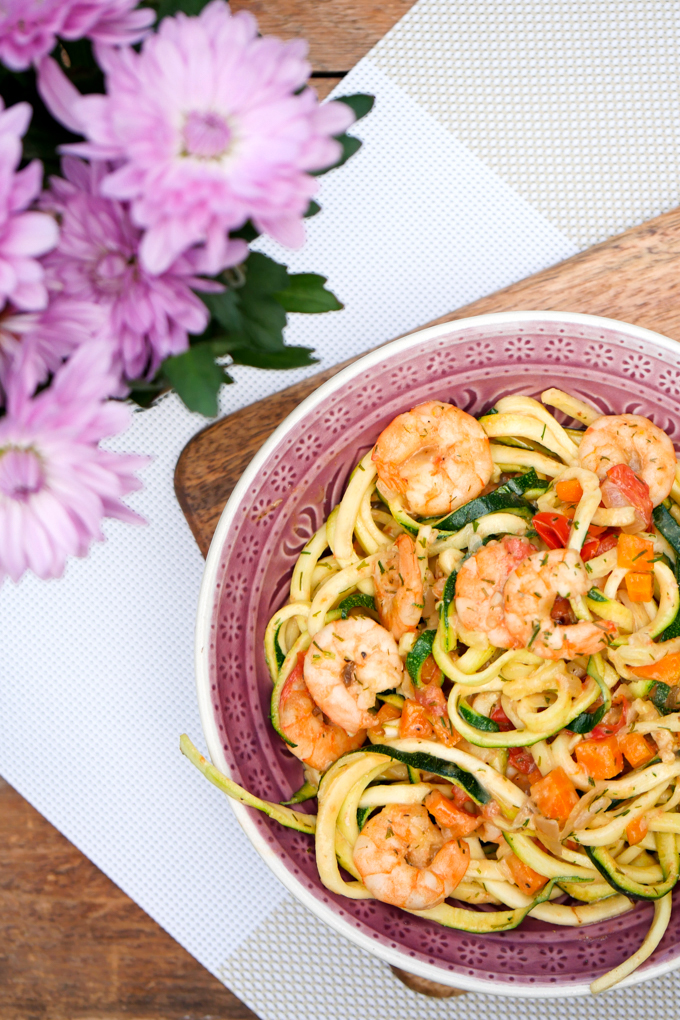 recipe for zucchini noodles with shrimp in cream sauce