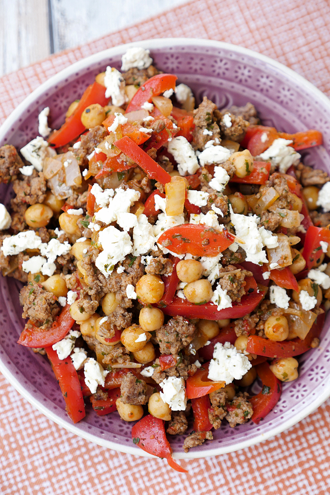 Fast Low Carb Chickpea Minced Pork with Paprika, Alvar and Feta